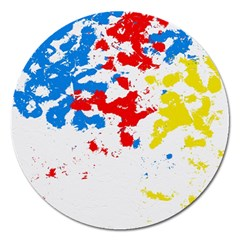 Paint Splatter Digitally Created Blue Red And Yellow Splattering Of Paint On A White Background Magnet 5  (Round)