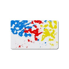 Paint Splatter Digitally Created Blue Red And Yellow Splattering Of Paint On A White Background Magnet (name Card)