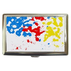 Paint Splatter Digitally Created Blue Red And Yellow Splattering Of Paint On A White Background Cigarette Money Cases