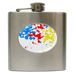 Paint Splatter Digitally Created Blue Red And Yellow Splattering Of Paint On A White Background Hip Flask (6 Oz)