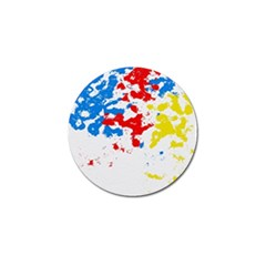 Paint Splatter Digitally Created Blue Red And Yellow Splattering Of Paint On A White Background Golf Ball Marker (10 Pack)