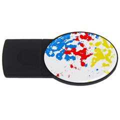 Paint Splatter Digitally Created Blue Red And Yellow Splattering Of Paint On A White Background USB Flash Drive Oval (1 GB)