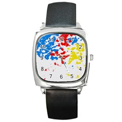 Paint Splatter Digitally Created Blue Red And Yellow Splattering Of Paint On A White Background Square Metal Watch