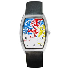 Paint Splatter Digitally Created Blue Red And Yellow Splattering Of Paint On A White Background Barrel Style Metal Watch