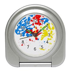 Paint Splatter Digitally Created Blue Red And Yellow Splattering Of Paint On A White Background Travel Alarm Clocks