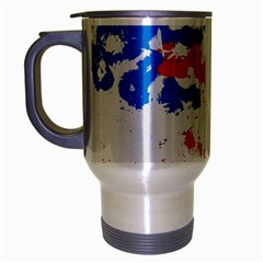 Paint Splatter Digitally Created Blue Red And Yellow Splattering Of Paint On A White Background Travel Mug (Silver Gray)