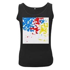 Paint Splatter Digitally Created Blue Red And Yellow Splattering Of Paint On A White Background Women s Black Tank Top