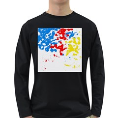 Paint Splatter Digitally Created Blue Red And Yellow Splattering Of Paint On A White Background Long Sleeve Dark T-Shirts