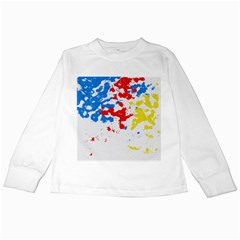 Paint Splatter Digitally Created Blue Red And Yellow Splattering Of Paint On A White Background Kids Long Sleeve T-Shirts