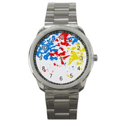 Paint Splatter Digitally Created Blue Red And Yellow Splattering Of Paint On A White Background Sport Metal Watch