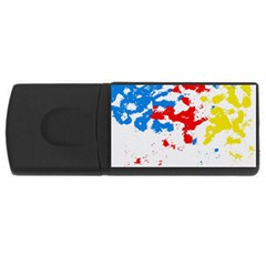 Paint Splatter Digitally Created Blue Red And Yellow Splattering Of Paint On A White Background Usb Flash Drive Rectangular (4 Gb)