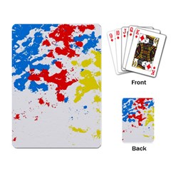 Paint Splatter Digitally Created Blue Red And Yellow Splattering Of Paint On A White Background Playing Card