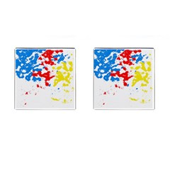Paint Splatter Digitally Created Blue Red And Yellow Splattering Of Paint On A White Background Cufflinks (Square)