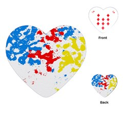 Paint Splatter Digitally Created Blue Red And Yellow Splattering Of Paint On A White Background Playing Cards (Heart)
