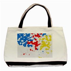 Paint Splatter Digitally Created Blue Red And Yellow Splattering Of Paint On A White Background Basic Tote Bag