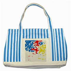 Paint Splatter Digitally Created Blue Red And Yellow Splattering Of Paint On A White Background Striped Blue Tote Bag