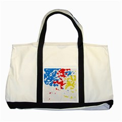 Paint Splatter Digitally Created Blue Red And Yellow Splattering Of Paint On A White Background Two Tone Tote Bag