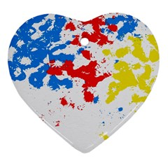 Paint Splatter Digitally Created Blue Red And Yellow Splattering Of Paint On A White Background Heart Ornament (two Sides)