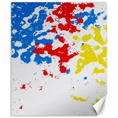 Paint Splatter Digitally Created Blue Red And Yellow Splattering Of Paint On A White Background Canvas 8  x 10