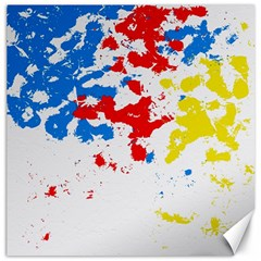 Paint Splatter Digitally Created Blue Red And Yellow Splattering Of Paint On A White Background Canvas 16  x 16