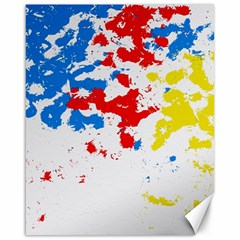 Paint Splatter Digitally Created Blue Red And Yellow Splattering Of Paint On A White Background Canvas 16  X 20