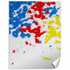 Paint Splatter Digitally Created Blue Red And Yellow Splattering Of Paint On A White Background Canvas 18  x 24
