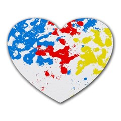 Paint Splatter Digitally Created Blue Red And Yellow Splattering Of Paint On A White Background Heart Mousepads