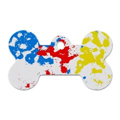 Paint Splatter Digitally Created Blue Red And Yellow Splattering Of Paint On A White Background Dog Tag Bone (Two Sides)