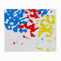 Paint Splatter Digitally Created Blue Red And Yellow Splattering Of Paint On A White Background Small Glasses Cloth (2-Side)