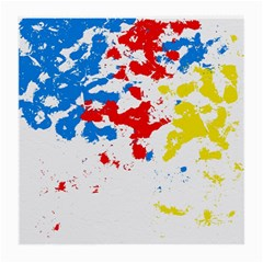 Paint Splatter Digitally Created Blue Red And Yellow Splattering Of Paint On A White Background Medium Glasses Cloth