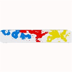 Paint Splatter Digitally Created Blue Red And Yellow Splattering Of Paint On A White Background Small Bar Mats