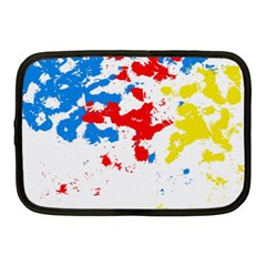 Paint Splatter Digitally Created Blue Red And Yellow Splattering Of Paint On A White Background Netbook Case (Medium)