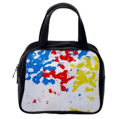 Paint Splatter Digitally Created Blue Red And Yellow Splattering Of Paint On A White Background Classic Handbags (One Side)