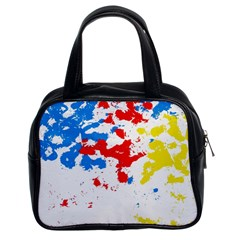 Paint Splatter Digitally Created Blue Red And Yellow Splattering Of Paint On A White Background Classic Handbags (2 Sides)