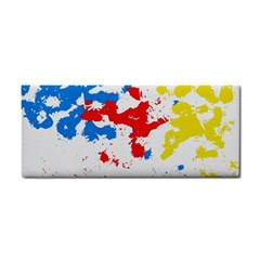 Paint Splatter Digitally Created Blue Red And Yellow Splattering Of Paint On A White Background Cosmetic Storage Cases