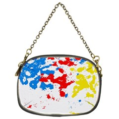Paint Splatter Digitally Created Blue Red And Yellow Splattering Of Paint On A White Background Chain Purses (one Side)