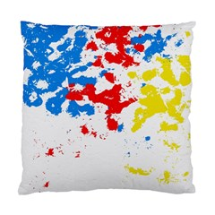 Paint Splatter Digitally Created Blue Red And Yellow Splattering Of Paint On A White Background Standard Cushion Case (Two Sides)