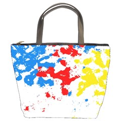 Paint Splatter Digitally Created Blue Red And Yellow Splattering Of Paint On A White Background Bucket Bags