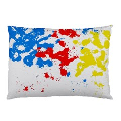 Paint Splatter Digitally Created Blue Red And Yellow Splattering Of Paint On A White Background Pillow Case