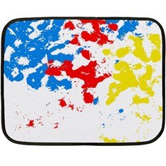 Paint Splatter Digitally Created Blue Red And Yellow Splattering Of Paint On A White Background Double Sided Fleece Blanket (Mini)