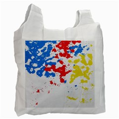 Paint Splatter Digitally Created Blue Red And Yellow Splattering Of Paint On A White Background Recycle Bag (One Side)