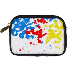 Paint Splatter Digitally Created Blue Red And Yellow Splattering Of Paint On A White Background Digital Camera Cases