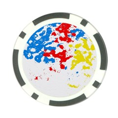 Paint Splatter Digitally Created Blue Red And Yellow Splattering Of Paint On A White Background Poker Chip Card Guard (10 pack)
