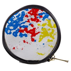 Paint Splatter Digitally Created Blue Red And Yellow Splattering Of Paint On A White Background Mini Makeup Bags