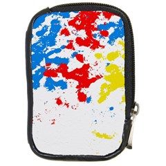 Paint Splatter Digitally Created Blue Red And Yellow Splattering Of Paint On A White Background Compact Camera Cases