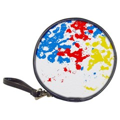 Paint Splatter Digitally Created Blue Red And Yellow Splattering Of Paint On A White Background Classic 20-CD Wallets