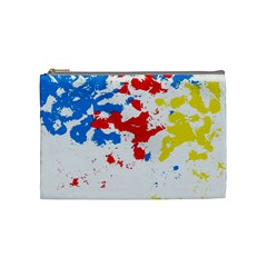 Paint Splatter Digitally Created Blue Red And Yellow Splattering Of Paint On A White Background Cosmetic Bag (medium)