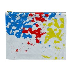 Paint Splatter Digitally Created Blue Red And Yellow Splattering Of Paint On A White Background Cosmetic Bag (XL)