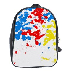 Paint Splatter Digitally Created Blue Red And Yellow Splattering Of Paint On A White Background School Bags(large)