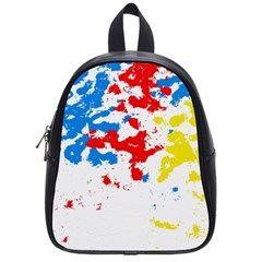 Paint Splatter Digitally Created Blue Red And Yellow Splattering Of Paint On A White Background School Bags (small)